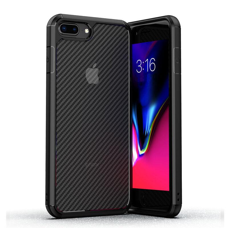 Husa iPhone 8 Plus Mobster Carbon Fuse Transparenta - Negru