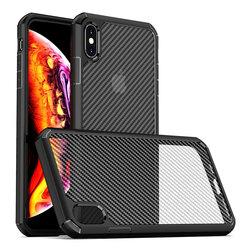 Husa iPhone XS Max Mobster Carbon Fuse Transparenta - Negru