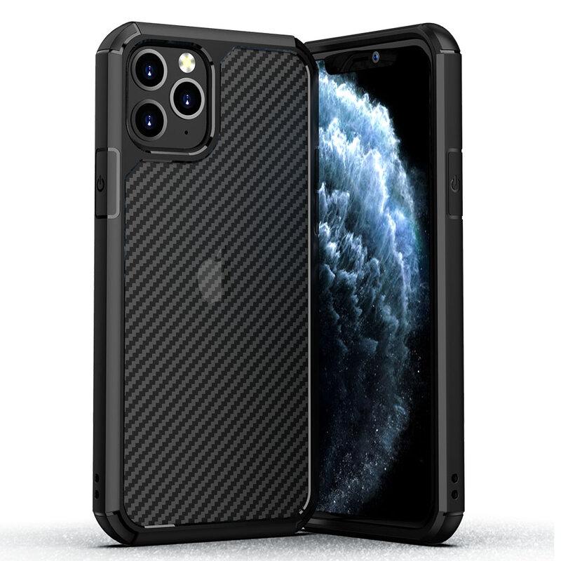 Husa iPhone 11 Pro Max Mobster Carbon Fuse Transparenta - Negru