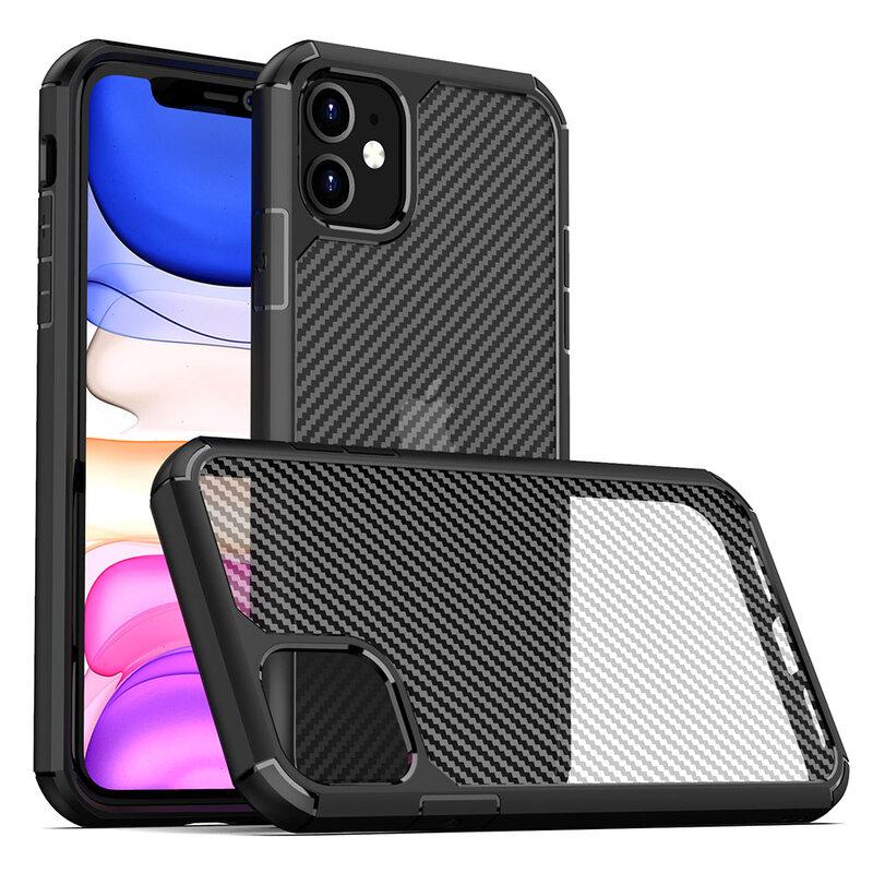 Husa iPhone 11 Mobster Carbon Fuse Transparenta - Negru
