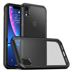 Husa iPhone XR Mobster Carbon Fuse Transparenta - Negru