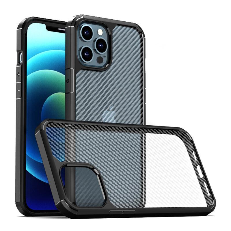 Husa iPhone 12 Pro Mobster Carbon Fuse Transparenta - Negru