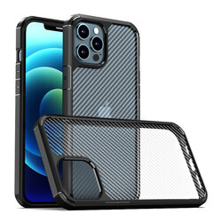 Husa iPhone 12 Pro Max Mobster Carbon Fuse Transparenta - Negru
