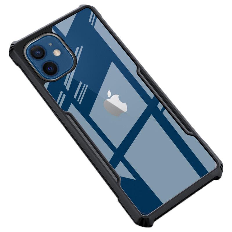 Husa iPhone 12 Mobster Up Fusion  Transparenta - Negru