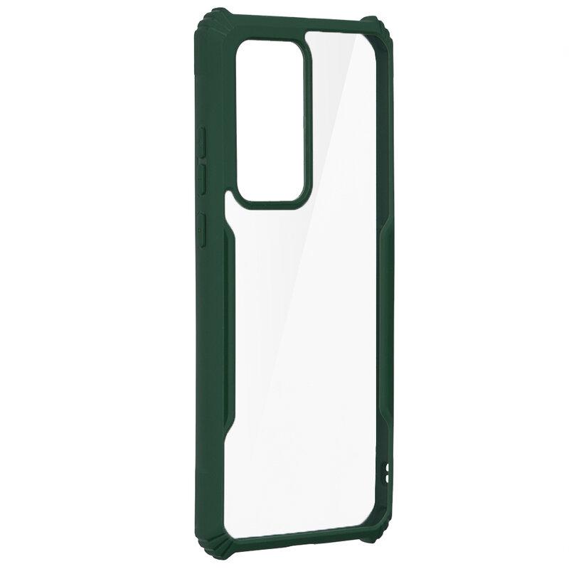 Husa Huawei P40 Pro Blade Acrylic Transparenta - Verde