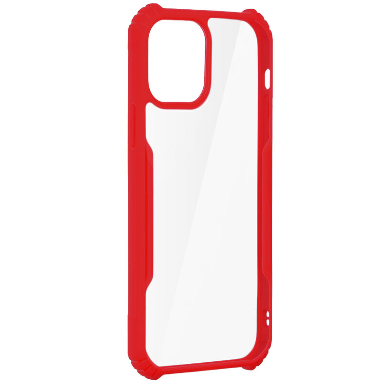 Husa iPhone 12 Blade Acrylic Transparenta - Rosu
