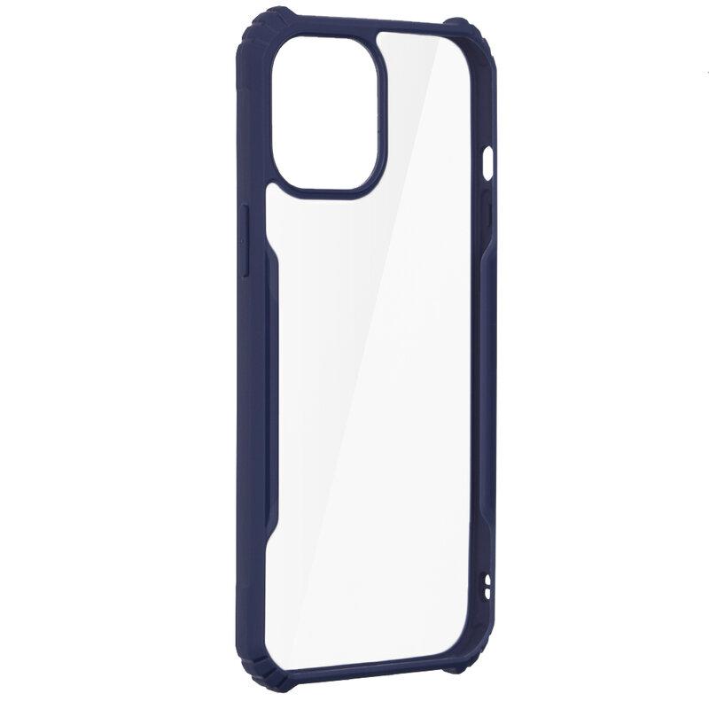 Husa iPhone 12 Pro Max Blade Acrylic Transparenta - Albastru