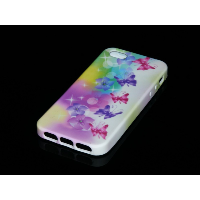Husa iPhone SE, 5, 5s Silicon Gel TPU Model Multicolor Cu Fluturasi