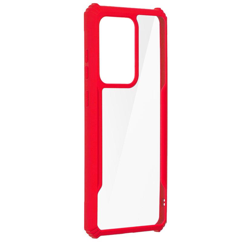Husa Samsung Galaxy S20 Ultra 5G Blade Acrylic Transparenta - Rosu