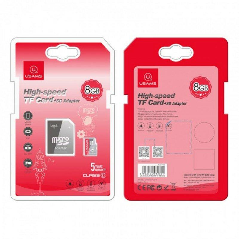 Card De Memorie Micro SDHC Clasa 10 + Adaptor USAMS 8GB - US-ZB116