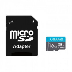 Card De Memorie Micro SDHC Clasa 10 + Adaptor USAMS 16GB - US-ZB117