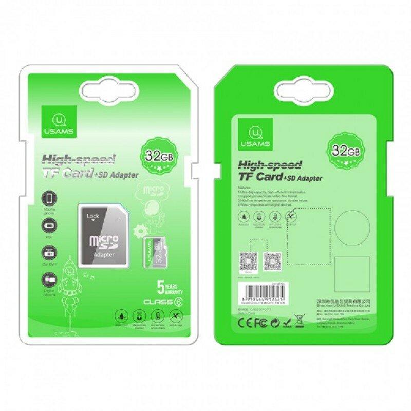 Card De Memorie Micro SDHC Clasa 10 + Adaptor USAMS 32GB - US-ZB118