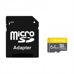 Card De Memorie Micro SDHC Clasa 10 + Adaptor USAMS 64GB - US-ZB119