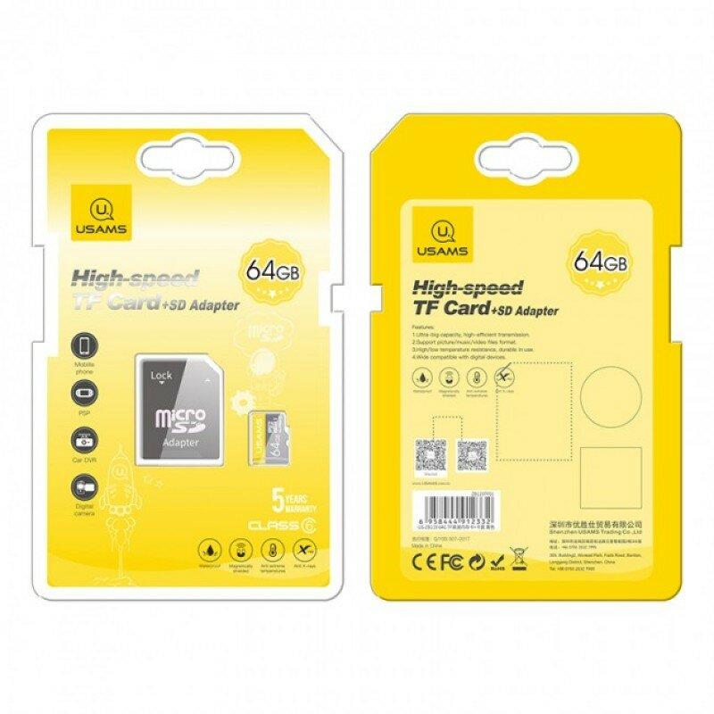 Card De Memorie Micro SDHC Clasa 10 + Adaptor USAMS 64GB - US-ZB119