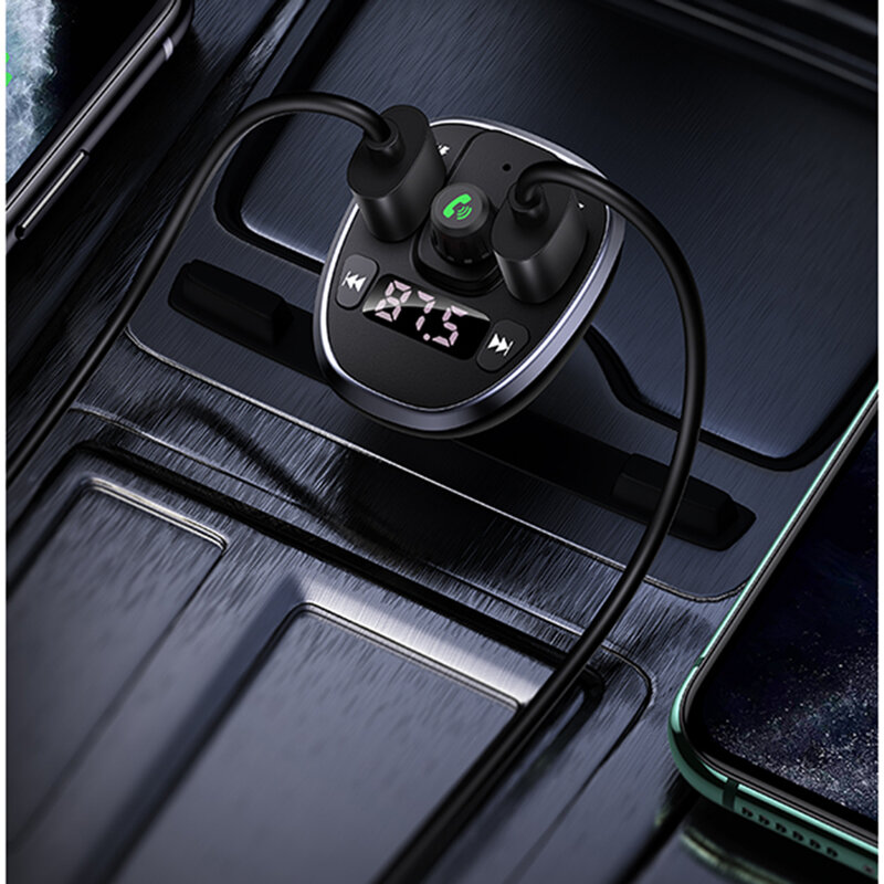 Incarcator Auto 2x USB Afisaj Digital, Modulator FM USAMS C21 - US-CC115 - Negru