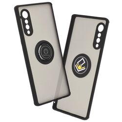 Husa LG Velvet 5G Mobster Glinth Cu Inel Suport Stand Magnetic - Negru