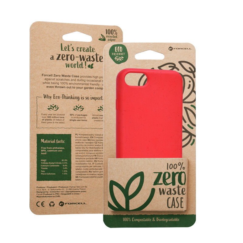 Husa iPhone 8 Forcell Bio Zero Waste Eco Friendly - Rosu