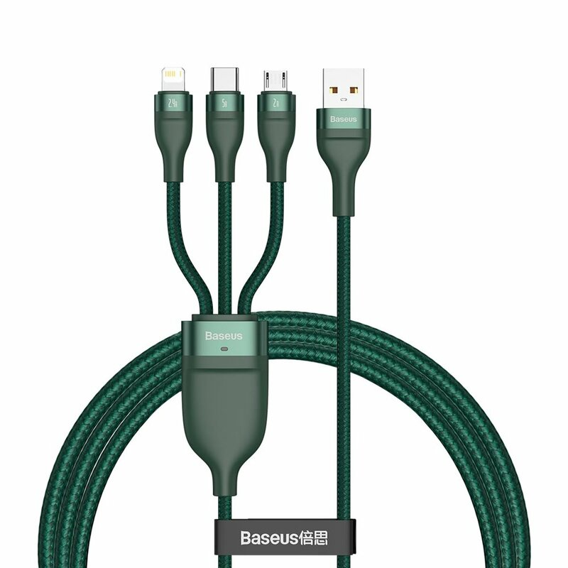 Cablu De Date 3in1 Lightning, Micro-USB, Type-C 1.2m 5A 40W Baseus - CA1T3-06 - Verde