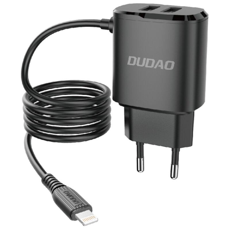 Incarcator Priza 2x USB Cu Cablu Lightning Dudao A2 Pro 2.4A 5V - Negru