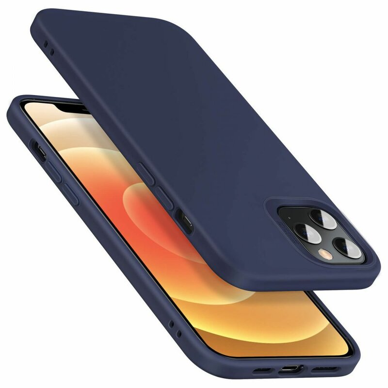 Husa iPhone 12 Pro Max ESR Cloud Flexibila Din Silicon Si Microfibra - Bleumarin