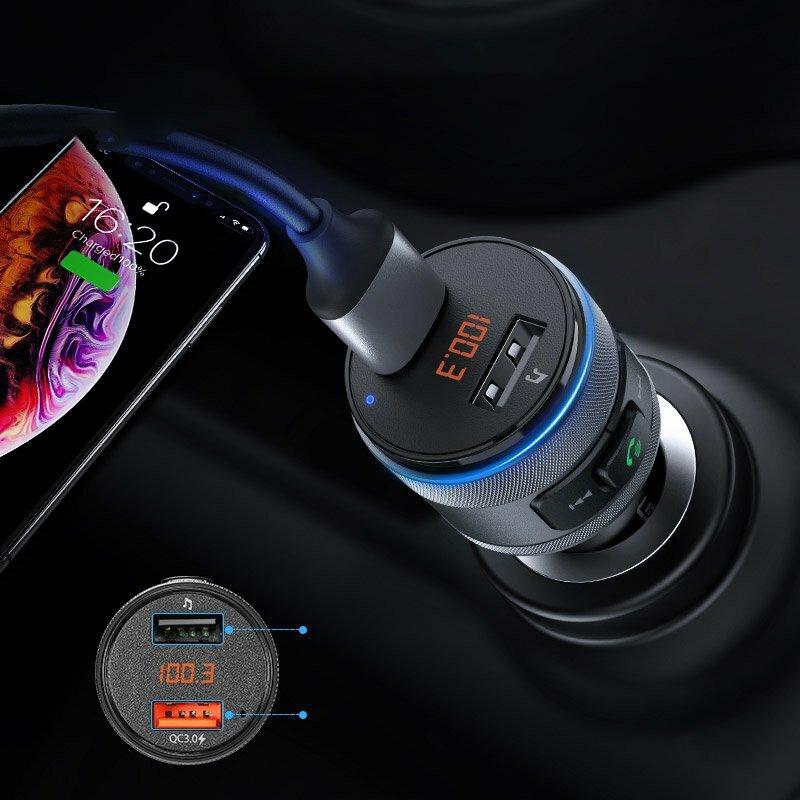 Incarcator auto Ugreen, modulator FM, 2x USB, wireless, negru, 60283