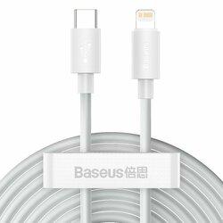 [Pachet 2x] Cablu De Date Type-C/ Lightning Baseus 20W 1.5m - TZCATLZJ-02 - Alb