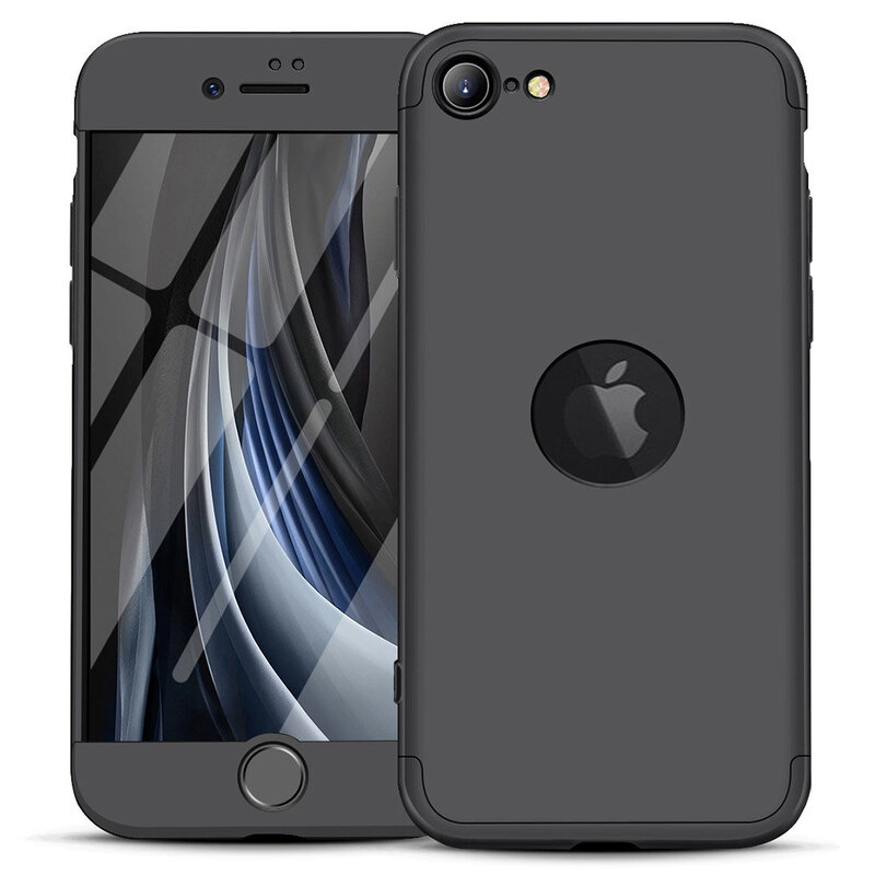 [Pachet 360°] Husa + Folie iPhone SE 2, SE 2020 GKK Original Decupaj Sigla - Negru