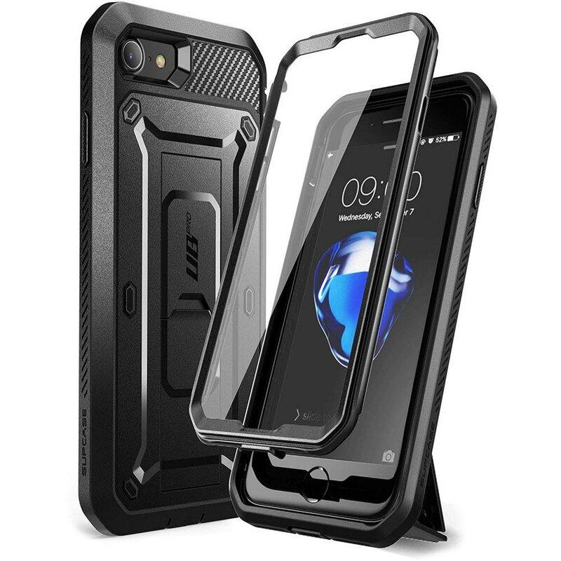 [Pachet 360°] Husa iPhone SE 2, SE 2020 Supcase Unicorn Beetle Pro + Folie Ecran - Black