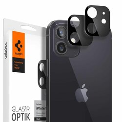 [Pachet 2x] Folie Sticla Camera iPhone 12 mini Spigen Glas.t R Slim 9H Lens Protector - Black