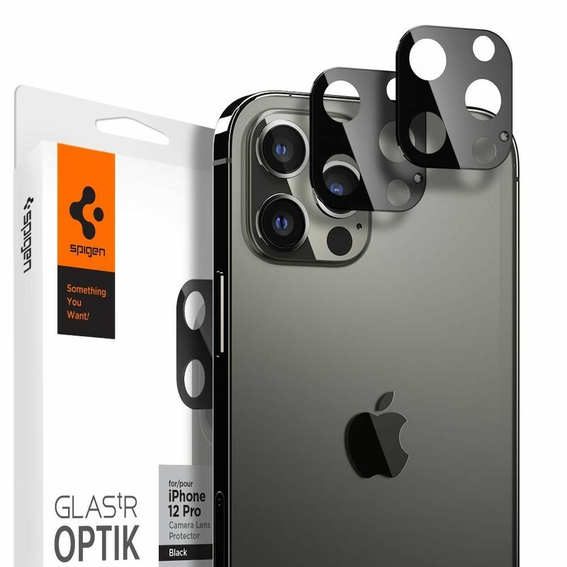 [Pachet 2x] Folie Sticla Camera iPhone 12 Pro Spigen Glas.t R Slim 9H Lens Protector - Black