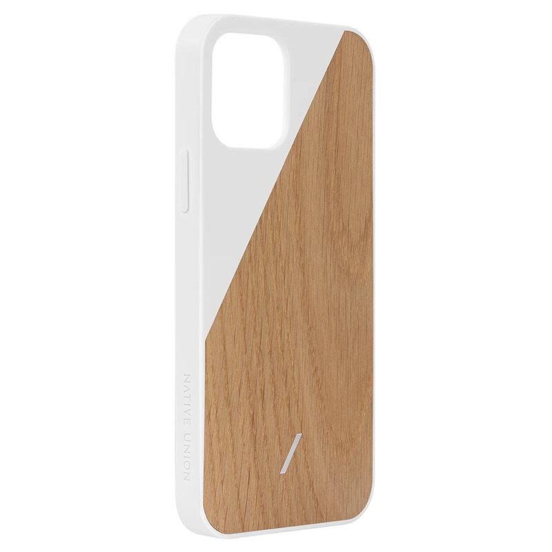 Husa iPhone 12 Native Union Clic Wooden Din Lemn De Stejar - Alb