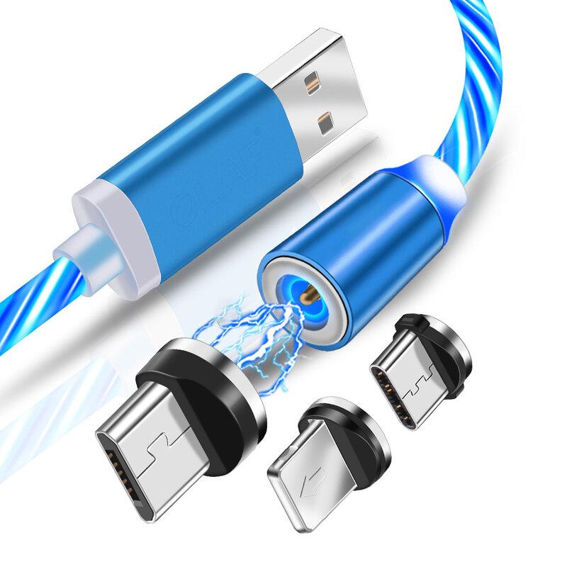 Cablu De Incarcare 3in1 Mobster Light UP Fantasy Magnetic 1m – Albastru