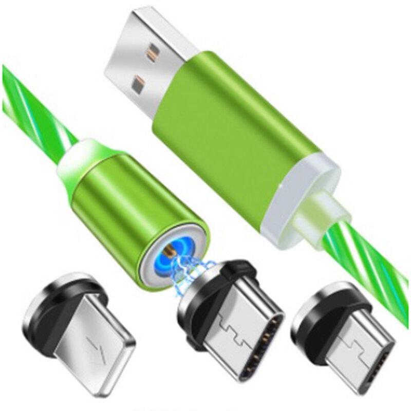 Cablu De Incarcare 3in1 Mobster Light UP Fantasy Magnetic 1m – Verde