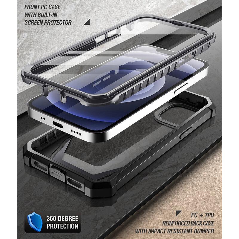 [Pachet 360°] Husa iPhone 12 Poetic Guardian + Folie Ecran - Negru