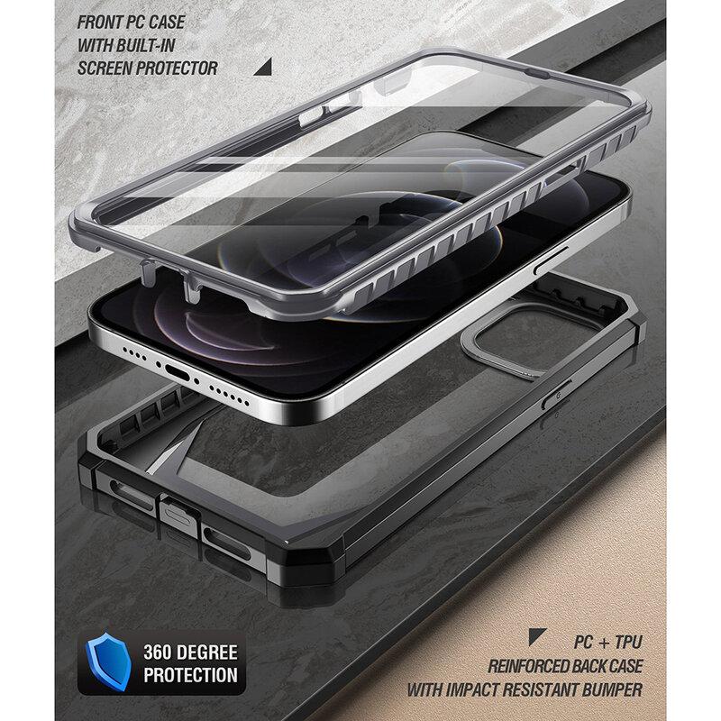 [Pachet 360°] Husa iPhone 12 Pro Poetic Guardian + Folie Ecran - Negru