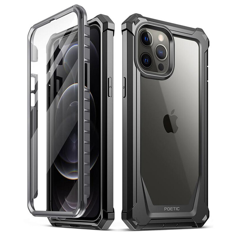 [Pachet 360°] Husa iPhone 12 Pro Max Poetic Guardian + Folie Ecran - Negru