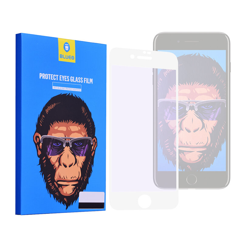 Folie Sticla iPhone SE 2, SE 2020 Blueo 5D Mr. Monkey Strong Anti-Blue - Alb