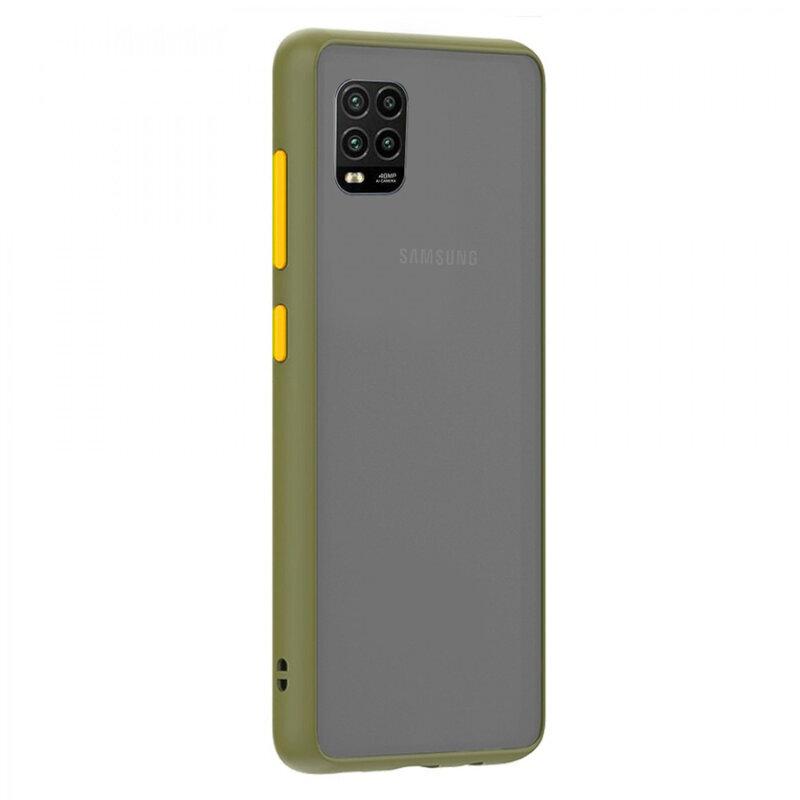Husa Xiaomi Mi 10 Lite Mobster Chroma Cu Butoane Si Margini Colorate - Verde Deschis