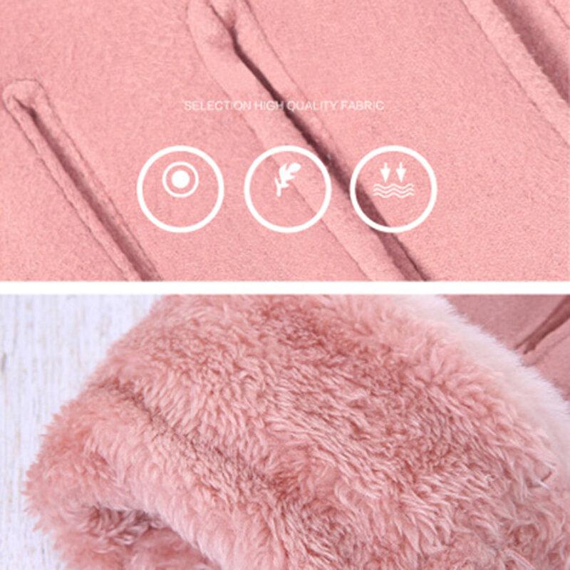 Manusi touchscreen dama Knit HLH, piele ecologica, gri