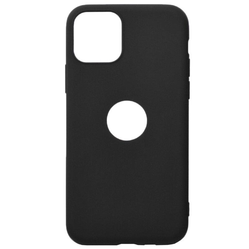 Husa iPhone 11 Pro Max Soft TPU Cu Decupaj pentru Sigla - Negru