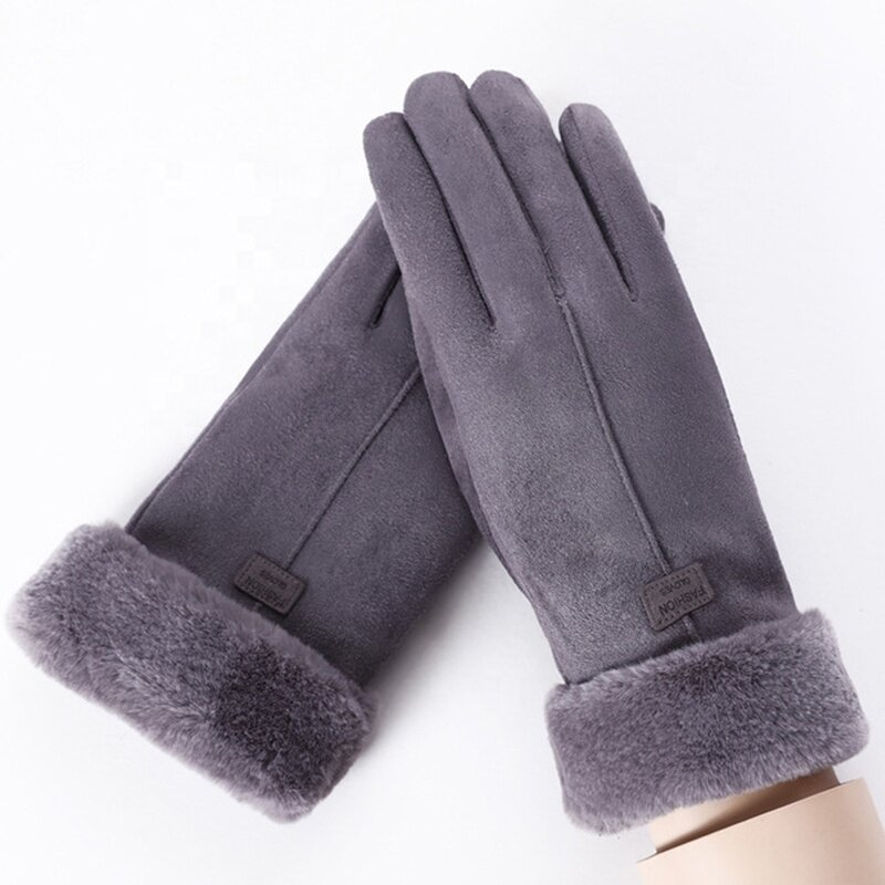 Manusi touchscreen dama Knit Magic, piele ecologica, gri