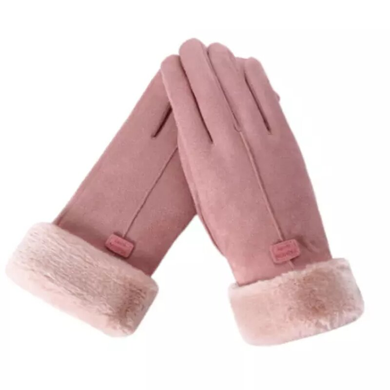 Manusi touchscreen dama Knit Magic, piele ecologica, roz