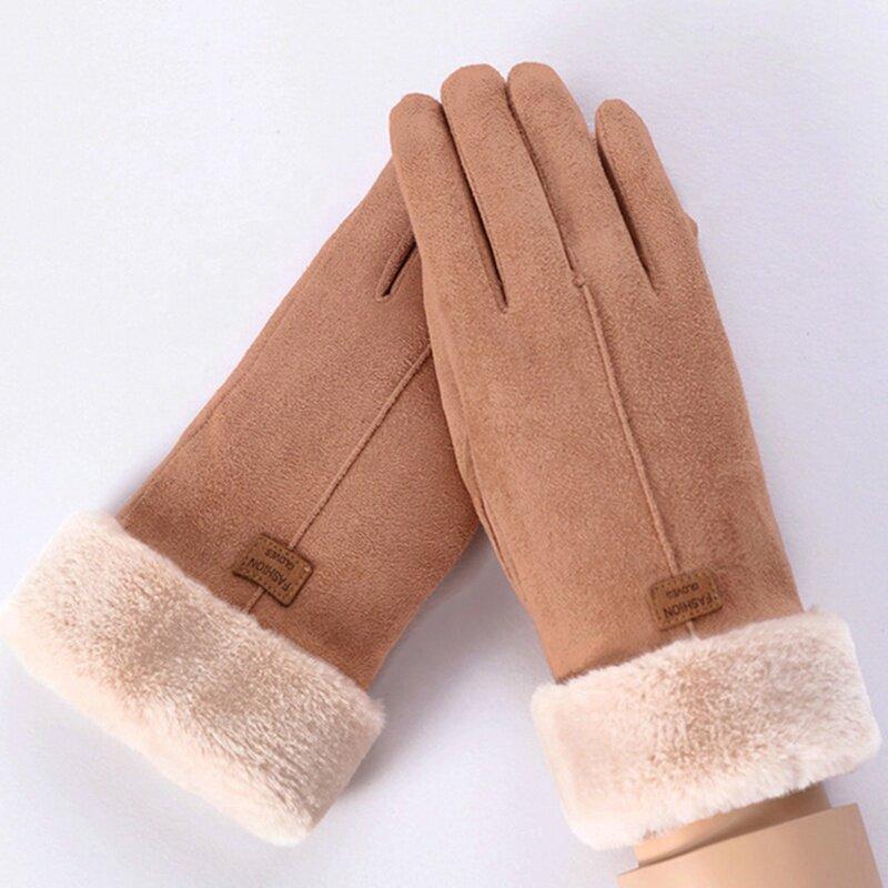 Manusi touchscreen dama Knit Magic, piele ecologica, maro