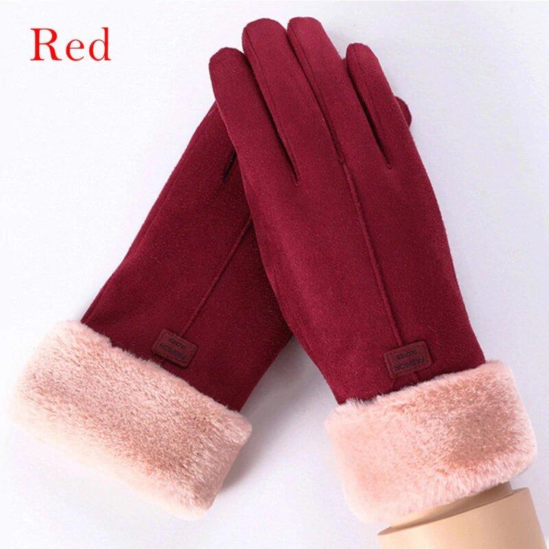 Manusi touchscreen dama Knit Magic, piele ecologica, rosu