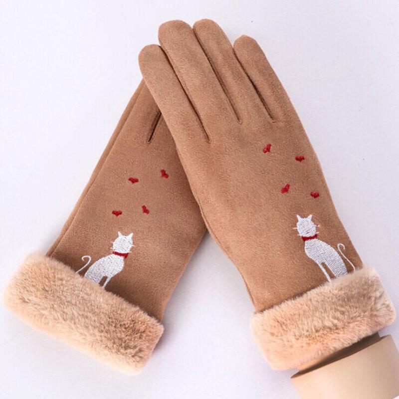 Manusi touchscreen dama Knit Cat, piele ecologica, maro