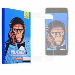 Folie Sticla iPhone SE 2, SE 2020 Blueo Mr. Monkey 5D Hot Bending Cu Rama - Alb
