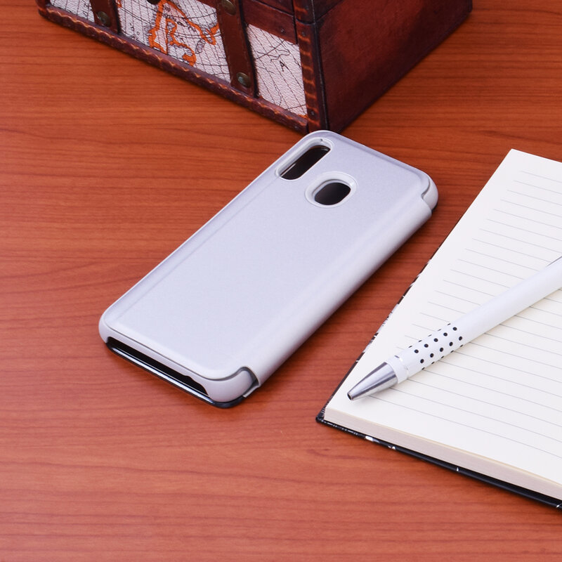Husa Samsung Galaxy A40 Flip Standing Cover - Silver
