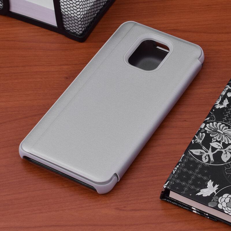 Husa Xiaomi Redmi Note 9 Pro Flip Standing Cover - Silver