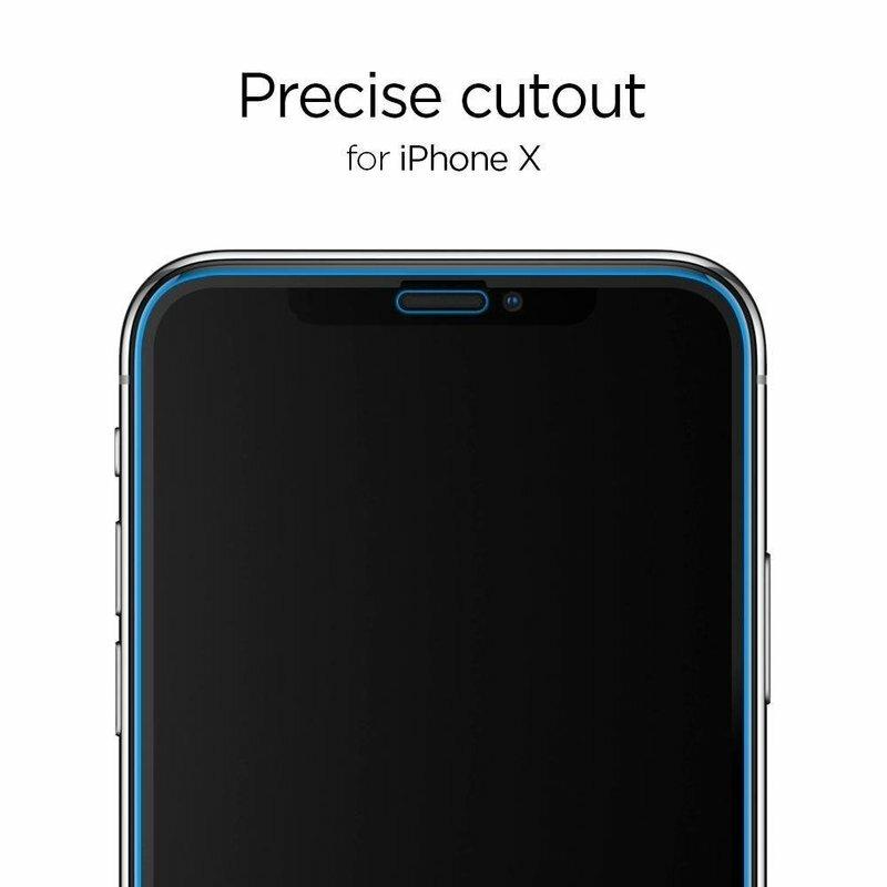[Pachet 2x] Folie Sticla iPhone XS Spigen Glas.t R Slim 9H - Clear