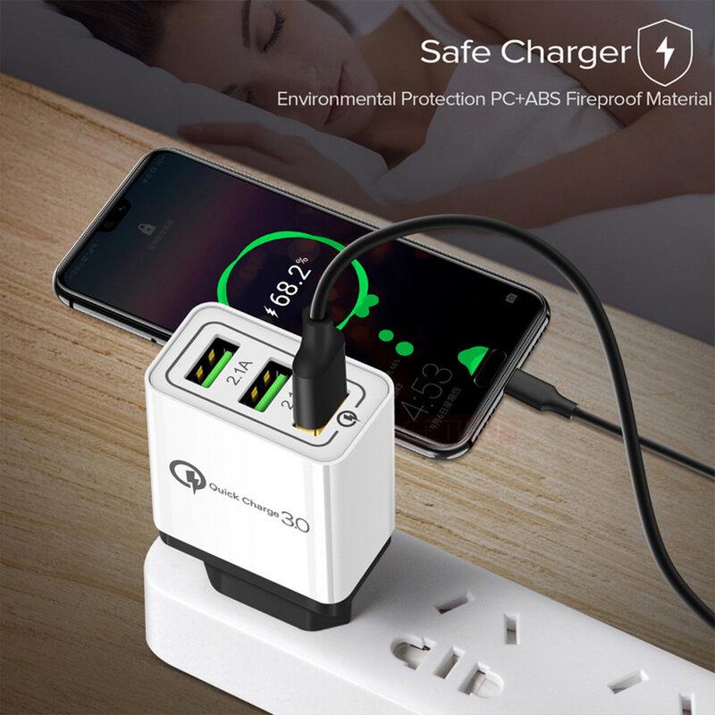 Incarcator Priza Qualcomm Fast 3xUSB 4.8A Quick Charge USB 3.0 - Alb/Gri